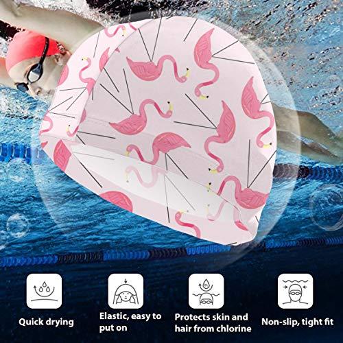 BigHappyShop Kids Swimming Cap Lawn Flamingos Silicone Waterproof Swim Cap Bathing Hair Quick Drying for Kids