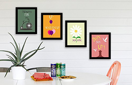Paper Plane Design Speaking Frames Set Of 4 Wall Art Paintings For Living Room And Bedroom Each Frame Size A4 Size (116 X 82) Inch