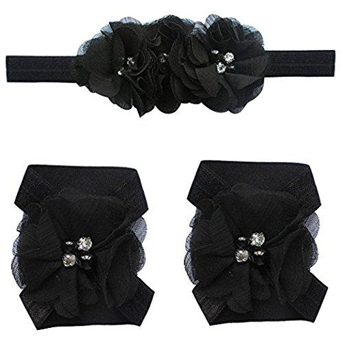 Girl's Foot Flower Barefoot Sandals + Headband Accessories black color 3 piece set