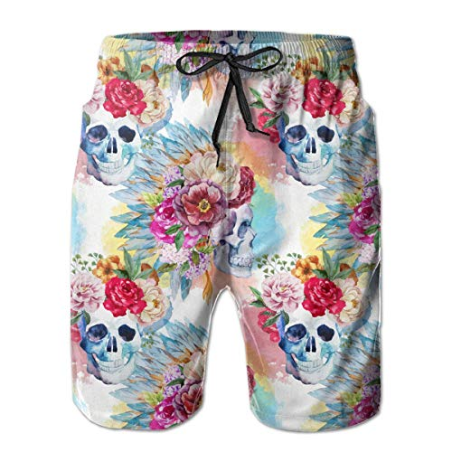 Jhonangel Boardshort Sugar Skull Roses Männer Quick Dry Sports Trunks XL