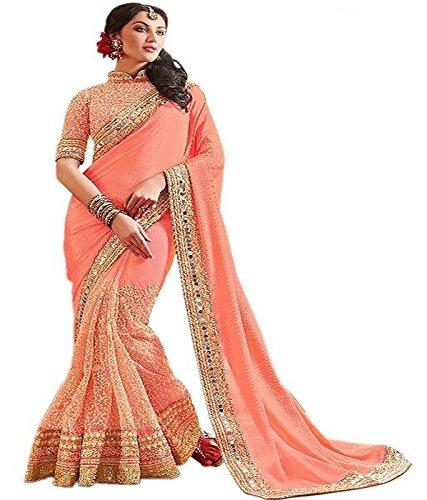 Bollywood Craze Peach Color Georgette,Banglori Fabric Embroidery Saree ( New Arrival Latest...