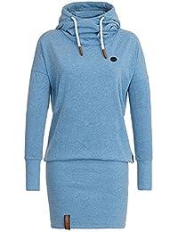 Laisla fashion Donna Vestiti Corti Eleganti Felpa con Cappuccio Invernali  Autunno Cute Chic Manica Lunga Collo d8e42b6ff3a