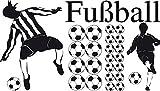 GRAZDesign 770078_57_070 Wandtattoo Fußball mit Bälle mit Fußballspieler | mit Kinderzimmer-Aufkleber die Wände dekorieren | Klebe-Folie im Set mit Versch. Motiven | für Jungs (100x57cm//070 Schwarz)