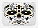 Day of The Dead Bath Mat, Dia de Los Muertos Spanish Mexican Festive Hippie Style Print, Plush Bathroom Decor Mat with Non Slip Backing, 15.7X23.6 inch, Black White and Yellow