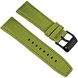 Festina Replacement Watch Strap Leather/Textile Band with Bright Contrast Stitching 24 mm for all models F16584, Colours: green