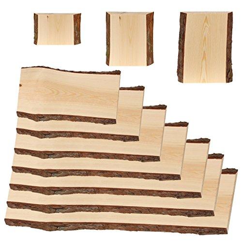 Rindenbrett in natur, Holztbrett, Baumscheibe, Servierbrett verschiedene Größen, Brettgröße:20 x 14-19 x 2 cm - 3