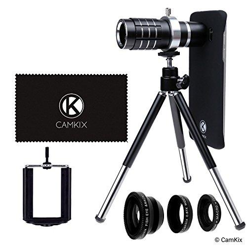 CamKix Kit Objectif appareil photo Compatible avec Samsung Galaxy S7 et S7 Plus - MV (Telephoto 12x - Noir)