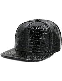 CUSFULL PU Leather Baseball Cap Adjustable Metallic Flat Snapback Hats for  Men and Women dc745068ad8a