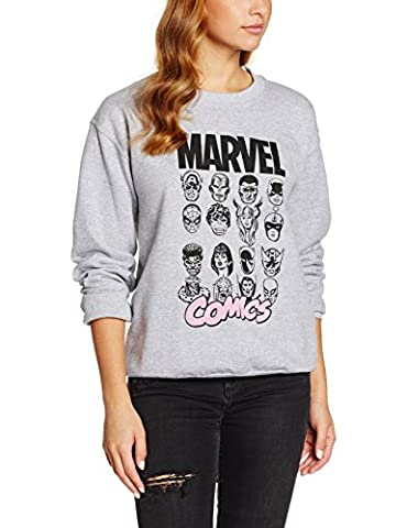 Marvel Multi Head, Sweat-Shirt Femme, Gris, Medium