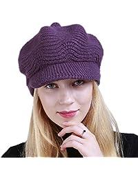 Boomly Autunno e Invernale Morbida Caldo Elegante Berretto con Visiera per  Donna Colore Solido Baschi Cappello 599d30406178