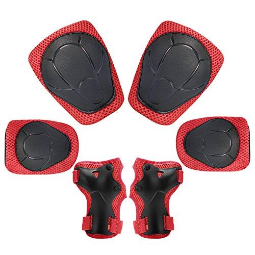 Kinder Schutzausrüstung Set, 6 stücke Knie und Ellbogenschützer mit Handgelenkschutz Kleinkind für Fahrrad Radfahren Sicherheit (rot)