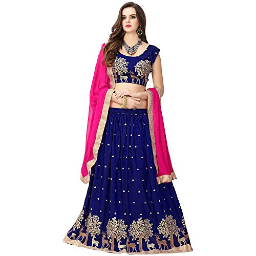 S R Fashion Womens Lehngha Choli With Dupatta For Girls(FWLC_Various_Colors_Jhoya_Silk) (Blue)