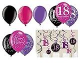 Feste Feiern Geburtstagsdeko Zum 18. Geburtstag | 21 Teile All-In-One Luftballons Deckenhänger Swirl Pink Schwarz Violett Party Deko Alles Gute