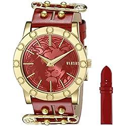 Versus by Versace Damen SF7040014 Miami Analog Display Quartz Red Armbanduhr