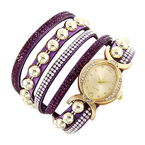 Minshao Mode Multi couches simili cuir Band Strass Perles Chaîne à quartz Bracelet montre-bracelet pour coffret cadeau pour femme violet