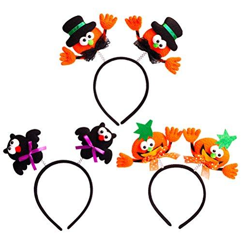 Stirnbänder Tier Hüte Kostüm - YeahiBaby Halloween Haarreif Stirnband Haarbänder mit Schläger Kürbis Hut für Kinder Mädchen Party Kostüm Dekoration Zubehör 3 Stücke