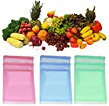 #8: Ketsaal (Pack Of 12) Multi-purpose Vegetables Fruits Mesh Fridge Storage Washable Zip Bags.