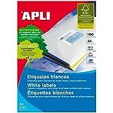 Apli 002655 - Pack de 100 etiquetas para impresora, 105 x 74 mm, color blanco