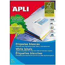 Apli 002655 - Pack de 100 étiquettes blanches pour Imprimante 105X74