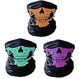 Geila Lot de 3 masques faciales tubulaires, coupe-vent, respirants, élastiques, motifs tête de mort, protègent le cou et le visage, parfaits pour la moto, le cyclisme, la randonnée, le Snowboard, et toutes les activités extérieures