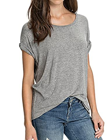 Muke Women's Angel Wing Print Short Sleeve T Shirt Size Xl Grey