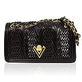 Valentino Orlandi Italienischer Designer Schwarze, plissierte Lederumhängetasche