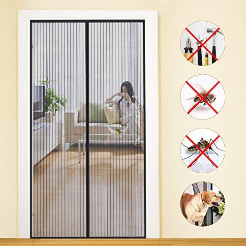MYCARBON Zanzariera Magnetica Velcro Adesivo 110 * 220cm Zanzariera Porta Finestra Magnetica Anti-Zanzare 26 Calamite Tenda Zanzariera Porta Magnetica