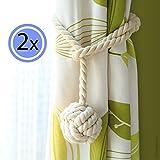 Gardinen Seil-Zugband- Einfache Verbindung Via Knotenschlaufe - Hält die Vorhänge Ihrer Fenster Offen - Handgestrickt - natürliche Baumwolle - Neutrales Licht Beige Farbe - Ein Paar (2er Set)