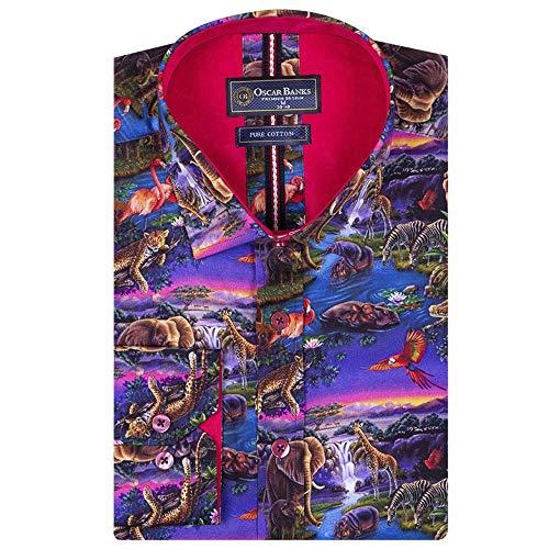 4028a804c4d4 Oscar Banks Animal Kingdom Print Long Sleeve Pure Cotton Mens Shirt Small  Brown