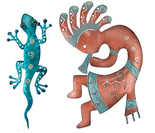 Regal Art & Geschenk Kokopelli und Gecko Decor 27,9cm Wand Dekor für Haus, Garten, Fenster und Art Wand, metall, Kokopelli w/ Blue Gecko, Einheitsgröße (Wand-dekor-garten)