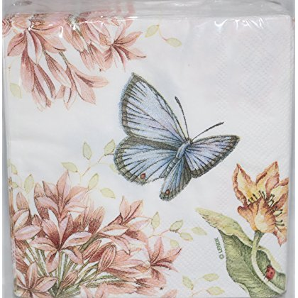 Lenox Butterfly Meadow Pink 40Getränk Cocktail Papier Servietten Butterfly Meadow Serviette