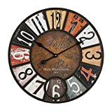 Orologio da parete cucina in legno numeri arabi muto retrò colorato rustico stile country decorazione della casa grande orologio da parete adatto per soggiorno camera da letto ufficio lounge 40 cm
