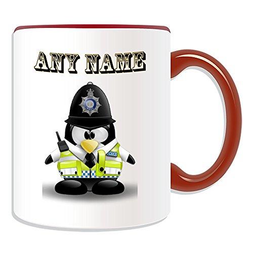 Best Of British Kostüm - Personalisiertes Geschenk-British Police Constable Tasse (Design Pinguin in Kostüm Thema, Farbe Optionen)-alle Nachricht/Name auf Ihre einzigartige-in Großbritannien Polizist PC Sergeant Inspector Traffic Officer Kompressionsshirt PC Sgt. INSP AZU CID Helm, keramik, rot