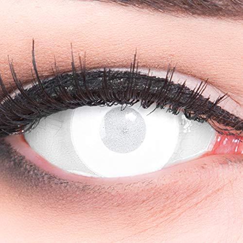 Farbige Kontaktlinsen Jahreslinsen Meralens Blind White Mentalist FAST KEINE SICHT komplett weiße Zombie Zombi weisse Motivlinsen inklusive Gratis Behälter Für Fasching, Karneval und ()