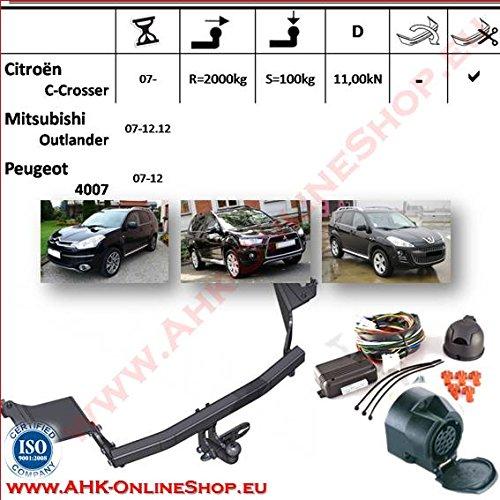 Attelage remorque fixe Peugeot 4007 à partir de 2007+e Jeu spécifique au 13p