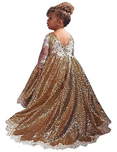 Mädchen Pailletten Blumenmädchen Kleid Gold glänzendes Kleid Prinzessin Pageant Prom Brautjungfer Kleid (Gold, 2) (Gold-pailletten Blumenmädchen Kleid)