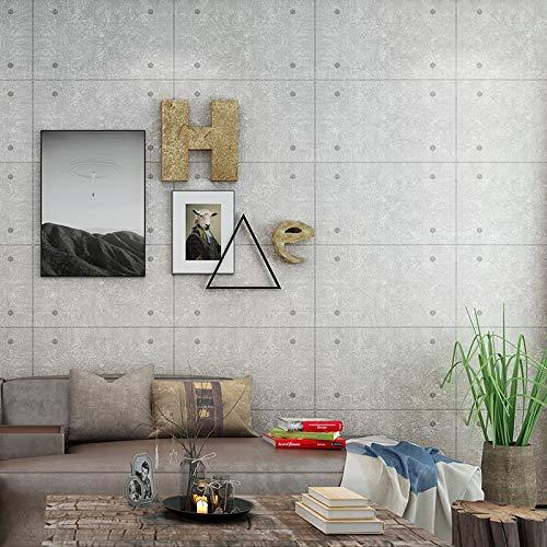 HNZZN Living Room Bar Restaurant Cafe Industrial Wind Wallpaper Grau Fake Ziegelstein Square Betonwand Niet Hintergrundbild, Grau, 53 CM X 10 M