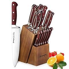 Idea Regalo - Set Coltelli, Emojoy Coltelli da Cucina 15 Pezzi, ProfessionaliAcciaio Tedesco, Ceppo Coltello in Legno, Marrone