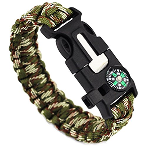 Flucht Holz (HCFKJ 5 in 1 Outdoor Seil Paracord Survival Gear Flucht Armband Flint/Pfeife/Kompass (B))