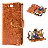 Mulbess Ledertasche im Ständer Book Case / Kartenfach für Sony Xperia Z3 Compact Tasche Hülle Leder Etui,Braun