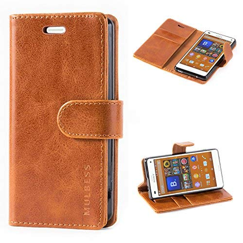 Mulbess Handyhülle für Sony Xperia Z3 Compact Hülle, Leder Flip Case Schutzhülle für Sony Z3 Compact Tasche, Cognac Braun