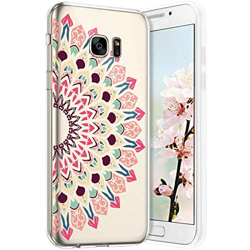 Robinsoni Funda Compatible con Samsung Galaxy S7 Edge Funda Silicona Galaxy S7 Edge Carcasa Transparente TPU Flor de Buda Carcasa Gel Goma Caso Suave Case Flexible Ultra Suave Caso Claridad Funda