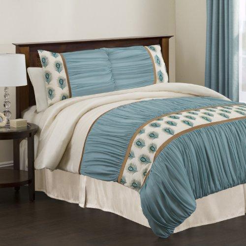Lush Decor Triangle Home Fashions 18344 4er Set Aurora Tröster, Kingsize, elfenbeinfarben/türkis (Aurora Tröster)