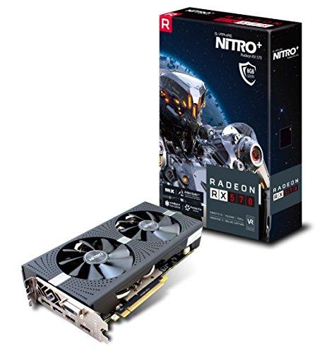 Sapphire Radeon RX 5708GB GDDR5Nitro + Radeon RX 5708GB GDDR5–Grafikkarten (Radeon RX 570, 8GB, GDDR5Speicher, 256Bit, 3840x 2160Pixel, PCI Express x162.0)