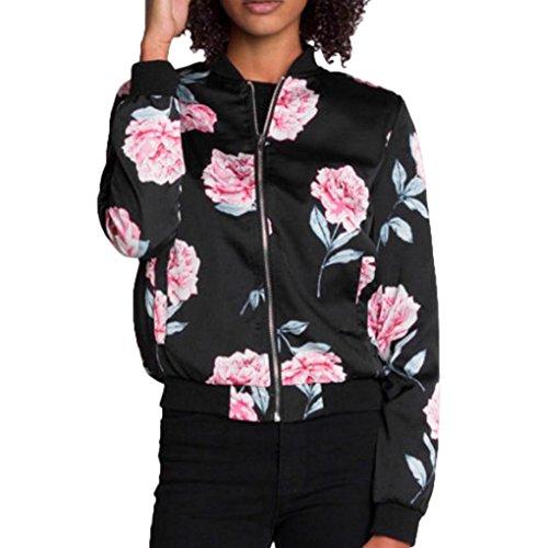 Damen Reißverschluss Blumen Gedruckt Bomber Jacke,ZEZKT Piloten Baseball Mantel Herbst Outwear Kurzjacke (XL) (Gemütliche Bomber)