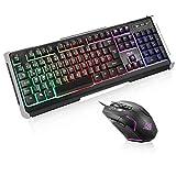 BAKTH Gaming Tastatur und Maus Set, Regenbogen LED Beleuchtung QWERTZ Deutsch Layout, Wasserdicht Beleuchtete Tastatur und Maus mit 4000 DPI für Pro PC Gamer + Langlebig Mauspad