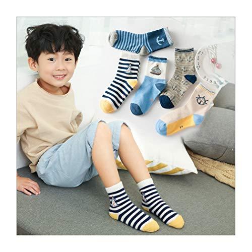 DCPPCPD Socken Kinder 5 Paar Sets Baumwolle Cartoon Streifen Winter Atmung Weichheit Komfort Midbarrel 1-12 Jahre Alt, M