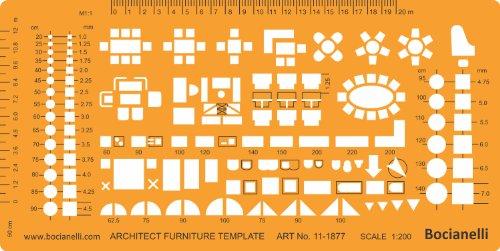 1:200 échelle Trace Gabarit D'architecte Symboles de Plan d'étage - Disposition des Meubles Mobilier Décoration d'intérieurs Dessin Technique Traçage Illustration Architecture Maisons