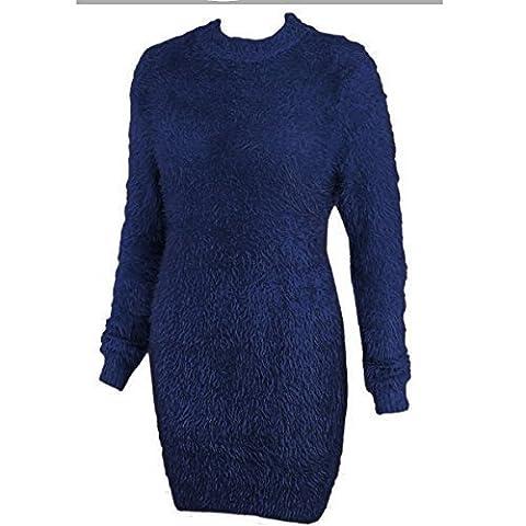 Damen Lang Furry Pullover Kleid Weich Flauschig Mohair Überdimensional Stretchtop - Marineblau Kunstpelz, XL/2XL -