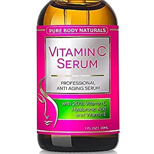 Vitamin C Serum Professional Topical Facial Skin Care Helps Repair Sun Damage Fade Age Spots Dark Circles L Ascorbic Acid - 1 Oz.